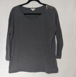 Gap Charcoal Long Sleeve Zippered Detail Top S L